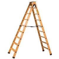 Escabeau double accès bois 2x8 marches + tablette CENTAURE - 483608