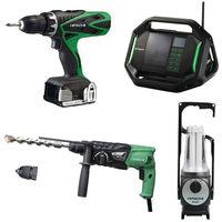 Lot Perceuse + Perfo + Radio + Lampe -2 batteries 18V 3Ah Hitachi/Hikoki