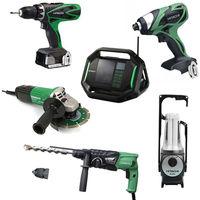Lot Perceuse + 5 outils -2 batteries 18V 3Ah Hitachi/Hikoki