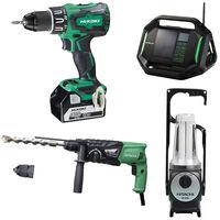 Lot Perceuse + Perfo + Radio + Lampe -2 batteries 18V 5Ah Hitachi/Hikoki