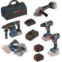 Kit 5 outils 18V GSR/GDX/GBH/GWS/GKS BOSCH - 2x8.0A + 1x4.0A + GAL 1880 CV + Toolbag - 0615990L50