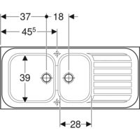 Évier à encastrer Vallauris GEBERIT - 2 cuves 1 égouttoir - 112 x 50 cm - 680000000