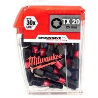 Embouts TX20 SHW 25mm MILWAUKEE - Boite de 25 - 4932430875