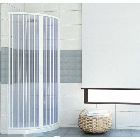 GRANISUD Cabine de Douche en PVC Angulaire pour Deux c/ôt/és avec Une Porte Pliante Ouverture Laterale r/éversible Couleur Blanc Dimension 70 x 90 cm