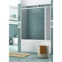 Pare-baignoire en PVC, dim. 150 cm x H 150 cm, d'un cote', porte simple, avec ouverture late'rale.