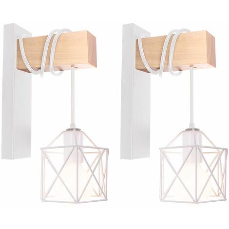 2pcs Applique da Parete in Legno Retrò Lampada a Muro a forma di Cubo Luce a Muro Quadrata Creativa Moderna per Scala da Comodino a Soppalco Bianca