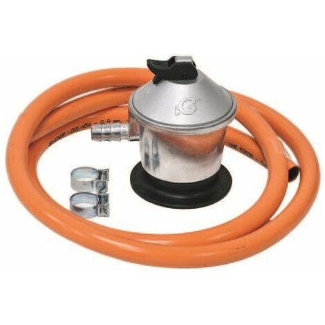 Kit regulador con manguera para gas butano de 0,7 m y 2 abrazaderas