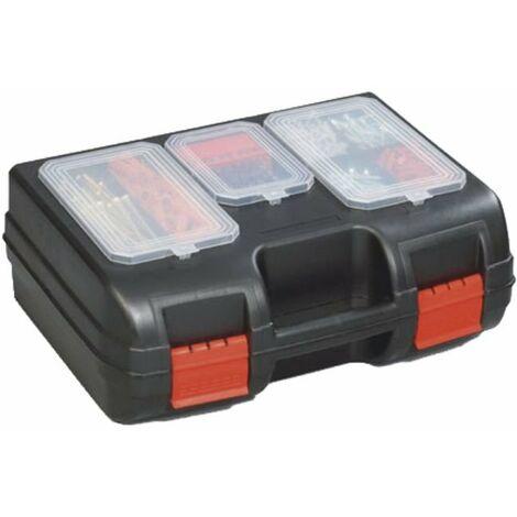 Maleta porta-taladros con tapa de 3 compartimentos