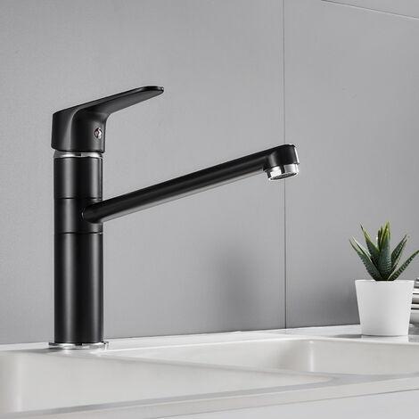 Auralum Robinet de Cuisine Noir Mitigeur Cuisine Pivotant à 360°Robinetterie d'évier à l'eau Froide et Chaude en Laiton