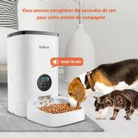 4L Balimo Distributeur Automatique de Nourriture pour Chat et Chien Distributeur de Croquette Gamelle 4 Repas par Jour Avec LED écran