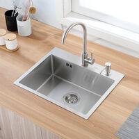 Auralum Evier Cuisine 1 Bac 55x45x18.5CM en Acier Inoxydable 304 Evier à Encastrer avec Distrubuteur de savon et Ensemble égouttoir