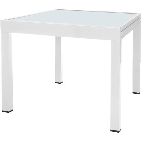 Mesa de jardín Thais extensible de aluminio y cristal blanco de 90x90x74 cm