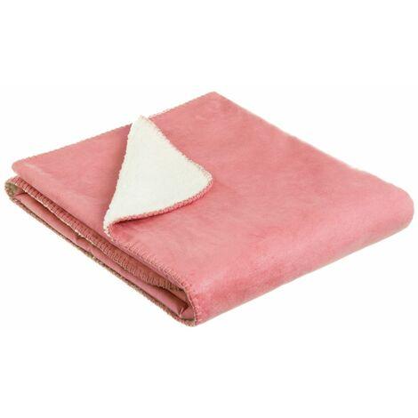 Manta rosa de sofá de microfibra de 150x125 cm