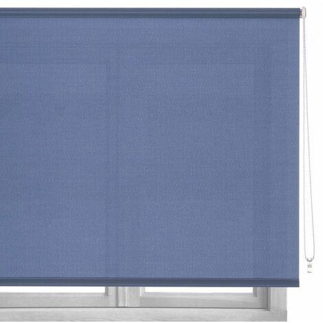 Estor enrollable azul de tela de 120x250 cm
