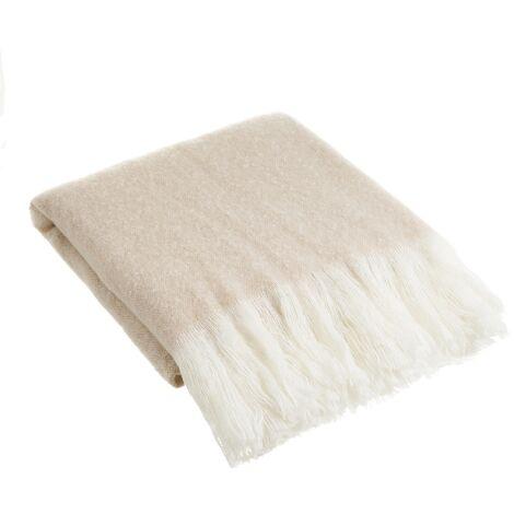 Manta beige para sofá de lana con flecos de 130x170 cm