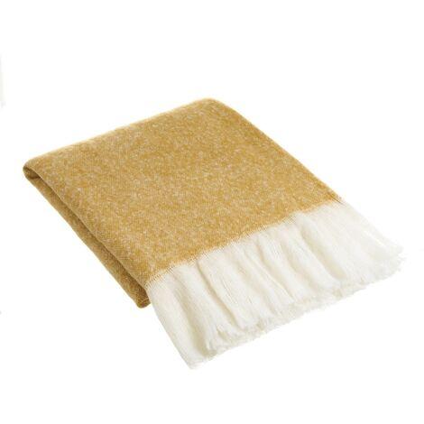 Manta mostaza para sofá de lana con flecos de 130x170 cm