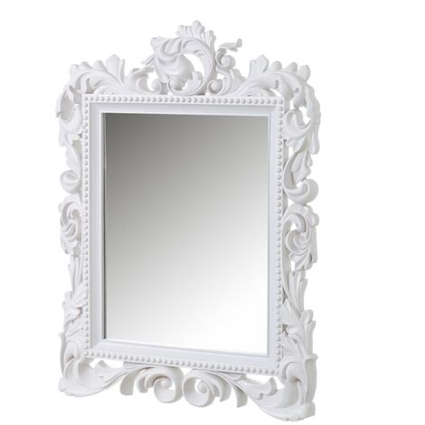 Espejo cornucopia clásico blanco de polipropileno de 79x59 cm