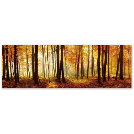 Cuadro cabecero en lienzo naranja de 180x60 cm
