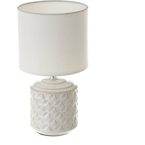 Lámpara de mesa mosaico de cerámica blanca de Ø 15x28 cm