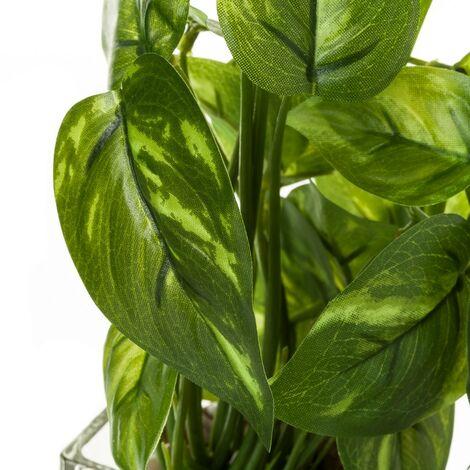 Planta artificial verde poliéster y cristal de 23x6x6 cm. Compra mínima 3 unid