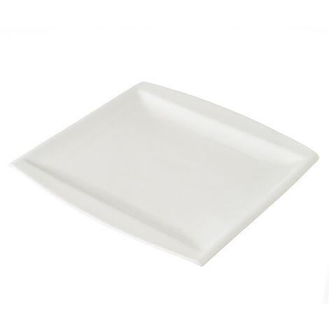 Bajoplato de diseño cuadrado blanco de porcelana contemporáneo, de 26x2x26 cm