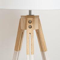 Lámpara de mesa nórdica de madera blanca de 44x25x25 cm