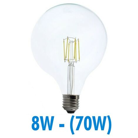 Bombilla LED 8W (70W) FILAMENT E27 Globo luminoso D125   Temperatura de color: Blanco cálido 3000K