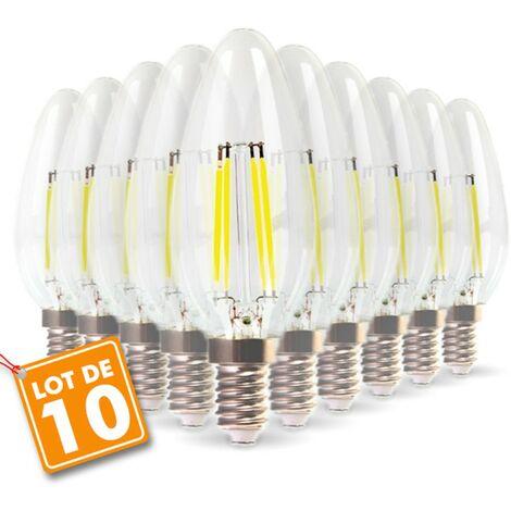 Lote de 10 bombillas LED E14 Filamento de llama 4w Eq 40W blanco cálido 2700K