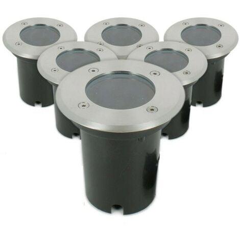 Conjunto de 6 luces empotradas en el suelo INOX 304 GU10