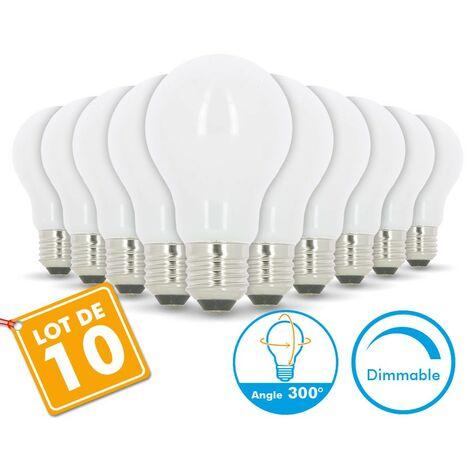 Juego de 10 bombillas LED E27 10W Eq 75W Vidrio regulable | Temperatura de color: 4000K blanco neutro