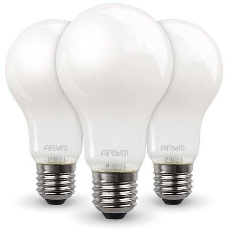 Lote de 3 bombillas LED 7W Eq 60W Estándar mate E27   Temperatura de color: 4000K blanco neutro