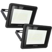 Lote de 2 proyectores LED 50W Alto brillo 4500 Lúmenes IP65 | Temperatura de color: Blanco cálido 3000K