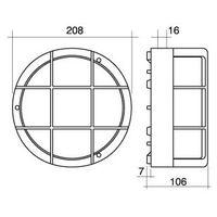 Aplique estanco redondo blanco E27 con rejilla IP44 ø208x106mm. (Fenoplástica 7200B)