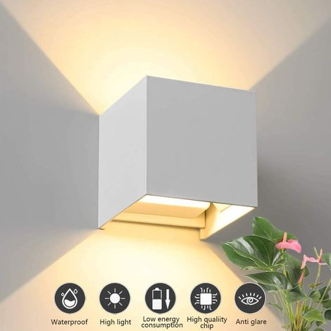 LED Wall Light for Indoor and Outdoor Use 12 W Modern Aluminium Wall Light with Adjustable Beam Angle Design Waterproof Wall Lighting Up Down Warm White Wall Light - White