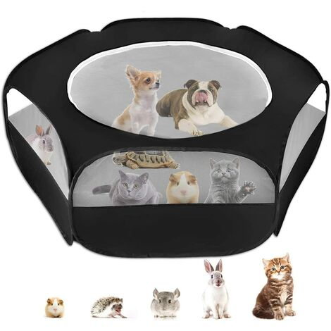 LangRay Small Animal Cage Playpen, Pet Playpen with Top Cover Anti Escape Foldable Breathable Transparent Yard Fence for Dog Cat Bunny Puppy Rabbits Guinea Pig Hamster Chinchillas Cage