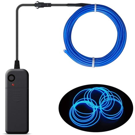 Christmas Decoration - Portable EL Wire, Neon Rope Lights with Battery, Glowing Strobing Flashing Electroluminescent Cable For Halloween Cosplay Christmas Dress Carnival Party Festival Decoration - Blue (3M)