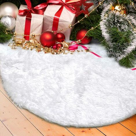 LangRay Plush Christmas Tree Skirt, 122cm Snow White Faux Fur Fir Foot Cover for Party Christmas Holiday Decorations