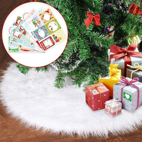 LangRay Plush Christmas Tree Skirt, Christmas Tree Skirt 78cm Snow White Faux Fur Tree Foot Cover for Party Christmas Decorations