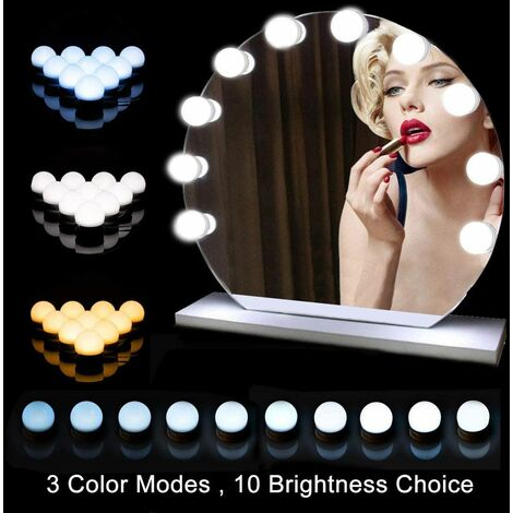 LangRay Dressing table lighting, Hollywood mirror, 10 bright LED with 3 meters of light and 10 brightness of 10 dimmable for cosmetic mirror / dressing table / bathroom mirror [Energy class A +++]