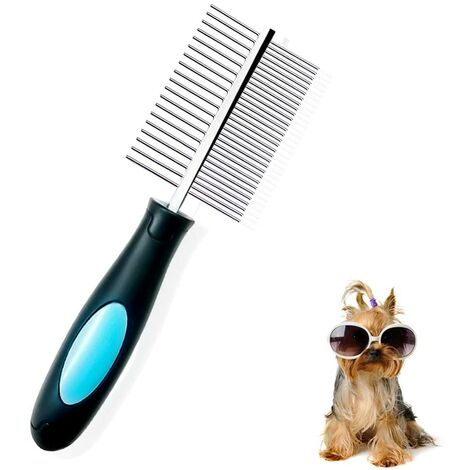 LangRay Dog Comb, Pet Comb Double Side Comb Professional Grooming Tool for Brushing Deshedding Anti Lice Dog Flea Comb