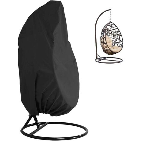 Patio Hanging Chair Cover 210D Oxford Fabric Waterproof Veranda Patio Cocoon Egg Chair Garden Furniture Protective Cover with Elastic Hem Drawstrings 115x190CM