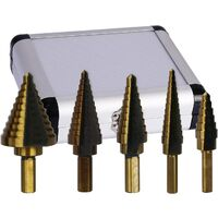 5-piece HSS step drill bit set, titanium triangle shank, cobalt coating, hole cutter, tapered bit set for electric tool with aluminium case