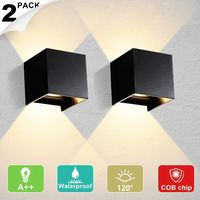 2 Pack Led Wall Light Aluminum 12W Indoor Led Wall Lamp 120° Adjustable Up Down Wall Light Outdoor IP65 Waterproof Wall Sconce Black Lighting Fixtures for Bedroom Cold White [Energy Class A++]