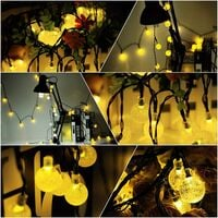 Solar String Lights Garden,6.5m 30 Crystal Balls Waterproof LED Fairy Lights, 8 Modes Outdoor Solar Powered Lights, Decorative Lighting for Home, Garden, Party, Festival [Energy Class A++]