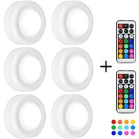 Under Cabinet Lighting,6pcs LED Cabinet Lights Dimmable Puck Lights 13 Colours 4 Dynamic Modes Night Light Battery Operated Stairs Light with Remote Control 3M Adhesive
