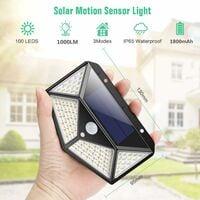 Solar Lights Outdoor, Upgraded 100 LED Solar Motion Sensor Security Lights [1800mAh] Solar Wall Lights 270º Solar Powered Lights Waterproof Solar Lamp with 3 Modes for Garden [2 Pack]