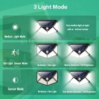Solar Lights Outdoor 100 LED, [2200mAh Super Energy Saving] Motion Sensor Security Lights 270º Wall Lights Solar Powered Lights Wireless Waterproof with 3 Modes for Garden Outside (4 Pack)