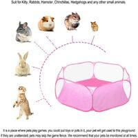 LangRay Small Animals C&C Cage Tent, Breathable & Transparent Pet Playpen Pop Open Outdoor/Indoor Exercise Fence, Portable Yard Fence for Guinea Pig, Rabbits, Hamster, Chinchillas and Hedgehogs Pink