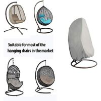 Outdoor Furniture Cover - Garden Rattan Wicker Waterproof Hanging Chair Furniture Cover - Egg Protective Cover Chair - 210D Oxford Polyester PVC Cover - Gray - Gris