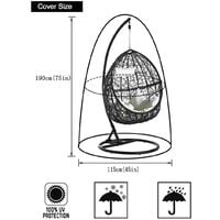 Outdoor Furniture Cover - Garden Rattan Wicker Waterproof Hanging Chair Furniture Cover - Egg Protective Cover Chair - 210D Oxford Polyester PVC Cover - Green - Vert